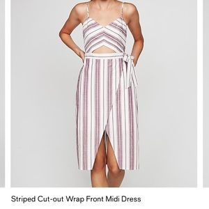 Striped Cut out Front wrap style midi dress